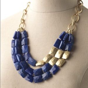 Stella & Dot Bahari Necklace, Blue and Gold